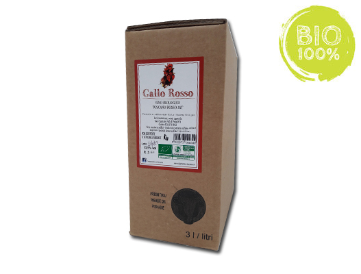 BAG-IN-BOX RED ORGANIC WINE TOSCANO IGT 13.5% – 3 LITRES <br> contains sulfites