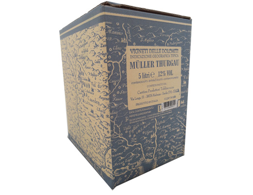 BAG-IN-BOX WHITE WINE MÜLLER THURGAU IGT VIGNETI DELLE DOLOMITI 12% – 5 LITRES <br> contains sulfites