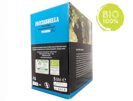 BAG IN BOX BIANCO PECORINO I.G.P. TERRE DI CHIETI BIOLOGICO-VEGANO 12% – 5 LITRI contiene solfiti
