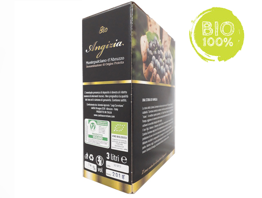 BAG-IN-BOX RED VEGAN ORGANIC WINE MONTEPULCIANO D'ABRUZZO DOP 13% – 3 LITRES  <br> contains sulfites