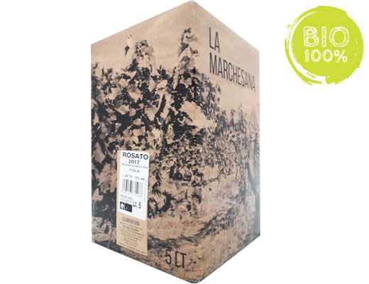 BAG-IN-BOX ORGANIC ROSÉ WINE 2018 PUGLIA IGT 12% – 5 LITRES <br>contains sulfites