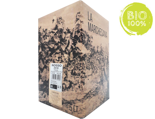 BAG-IN-BOX ORGANIC RED WINE 2018 PUGLIA IGT 14% – 5 LITRES <br>contains sulfites